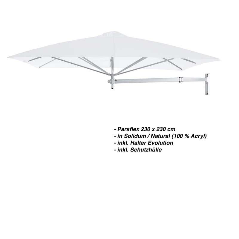 Umbrosa Paraflex 230 x 230 cm Sonnenschirm Solidum Natural SET Wandschirm inkl. Halterung