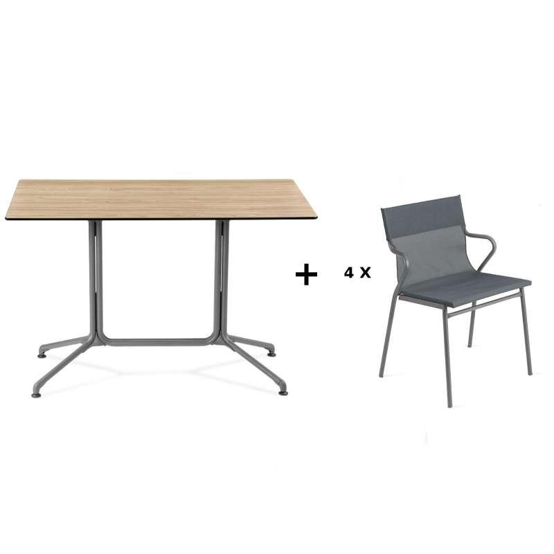 Lafuma Horizon Tisch-Set Loungetisch 115x70x74,5 cm Bois Wood 4 Stühle Storm Grey