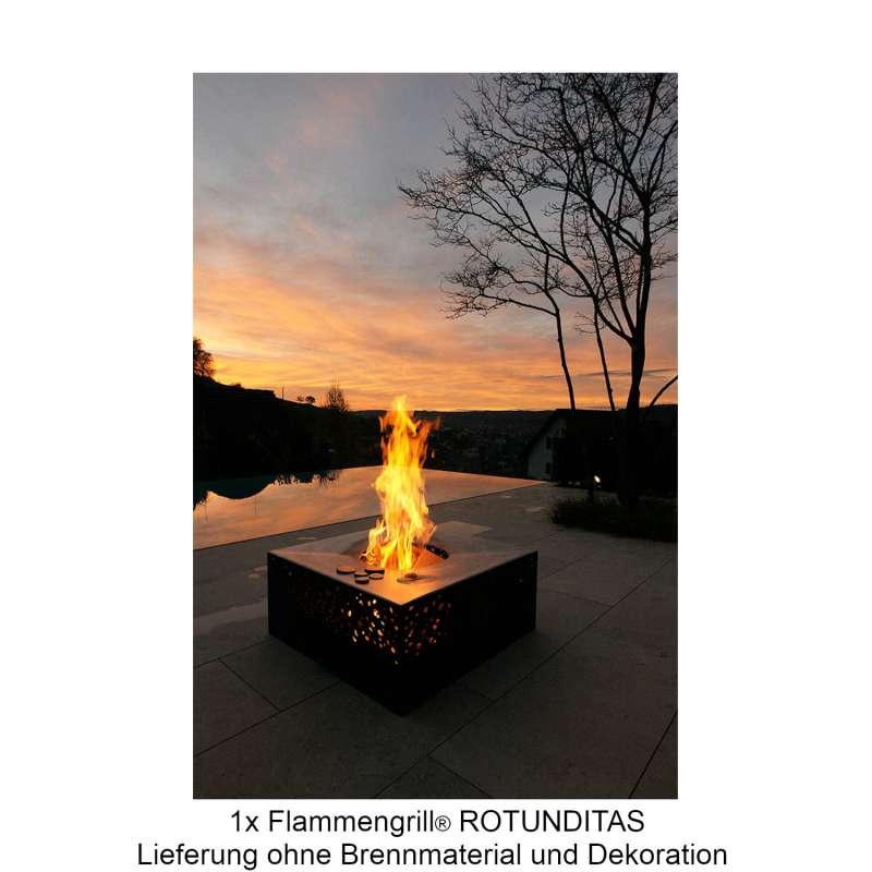 Mecondo Flammengrill® ROTUNDITAS 80x80x35 cm Edelstahl-Grillfäche Corten/Edelstahl Feuertisch