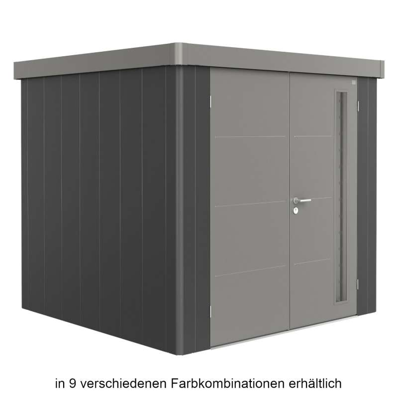 Biohort Gerätehaus Neo 2B 236x236x222 cm Doppeltür in 9 verschiedenen Farben Gartenhaus