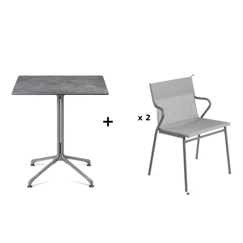 Lafuma Horizon Tisch-Set Loungetisch Mineral 70x70 cm 2 Loungestühle Pearl