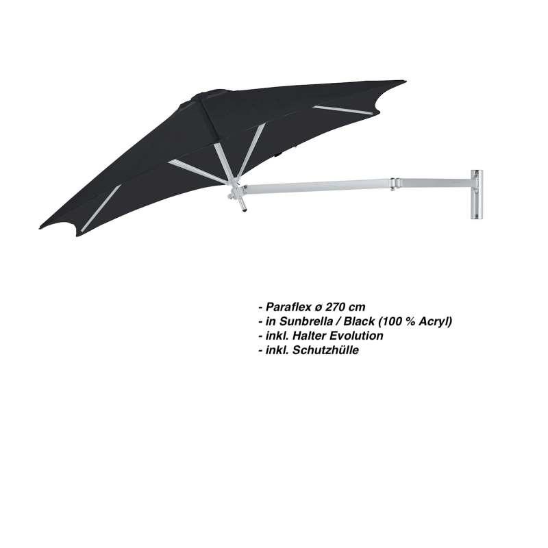 Umbrosa Paraflex ø 270 cm Sonnenschirm Komplettset inkl. Halterung Black Wandschirm
