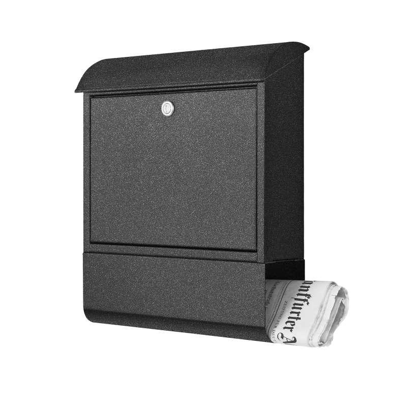 Heibi Briefkasten Stahlblech verzinkt mit Zeitungsfach Graphitgrau 43802-039