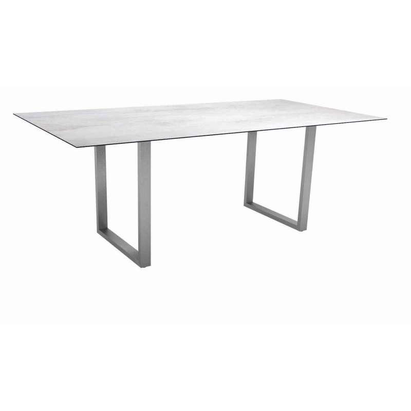Stern Kufentisch 200x100 cm Edelstahl/Silverstar 2.0 Zement hell Gartentisch Tisch