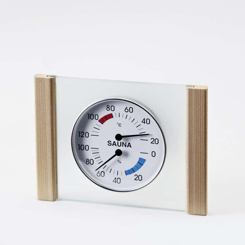 Infraworld Klimamesser mit Glas Holzrahmen in Zeder Saunazubehör S2286