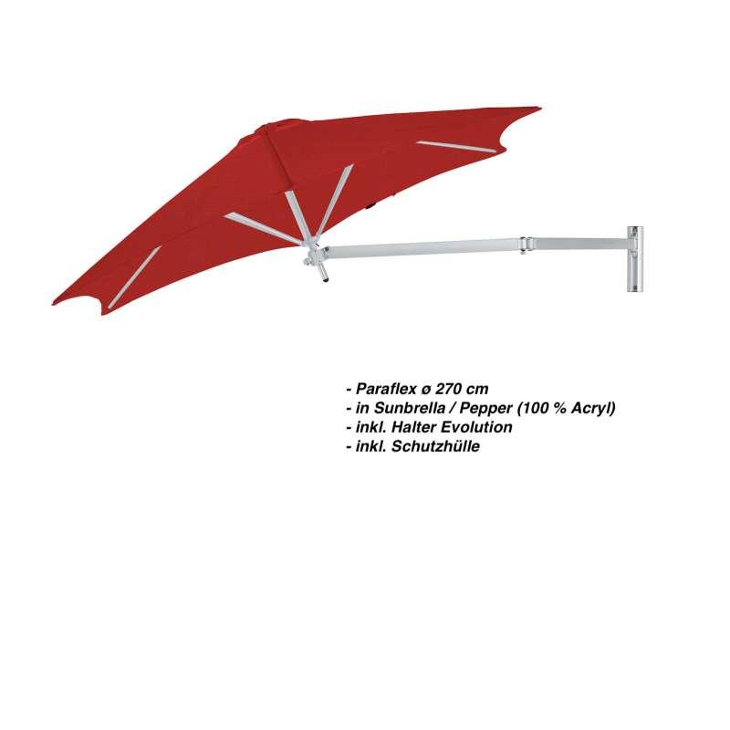 Umbrosa Paraflex ø 270 cm Sonnenschirm Komplettset inkl. Halterung Pepper Wandschirm