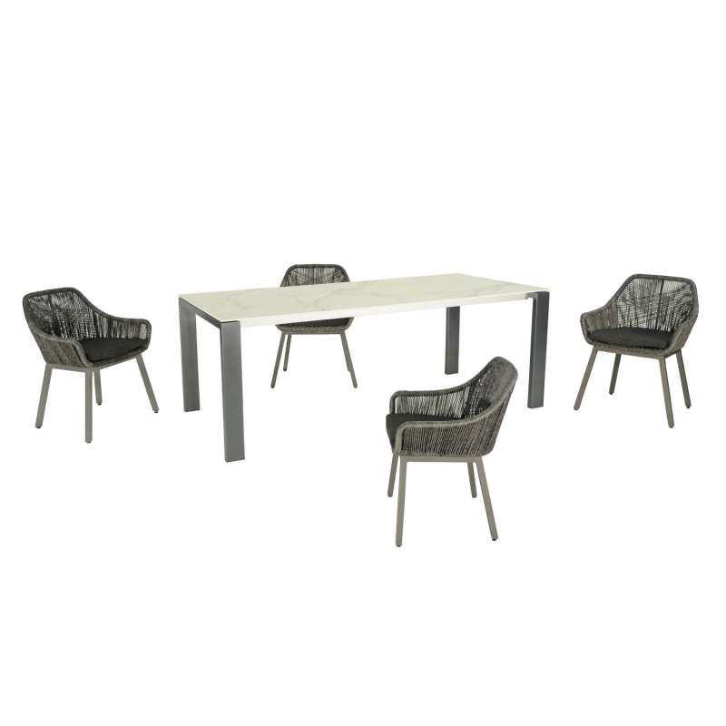 SIT Mobilia 5-teilige Sitzgruppe Olympia Oslo & Tacos Edelstahl/Aluminium eisengrau/ebony Tisch 140x