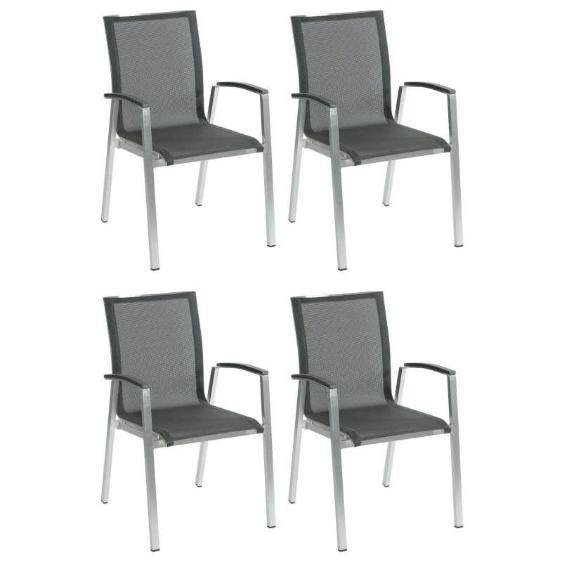 Inko 4er-Set Stapelsessel Ancona 56,5x63x89 cm Aluminium gebürstet/Textilene dark grey Stapelstuhl