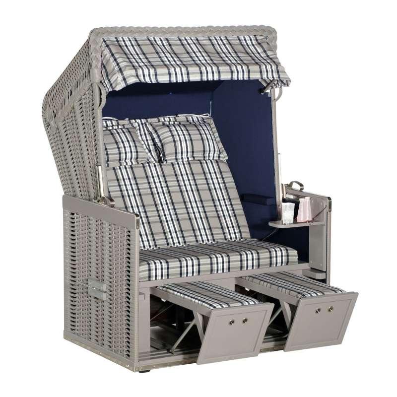 Sonnenpartner Strandkorb Konsul 2-Sitzer Halbliegemodell taupe/modena blau mit Sonderausstattung