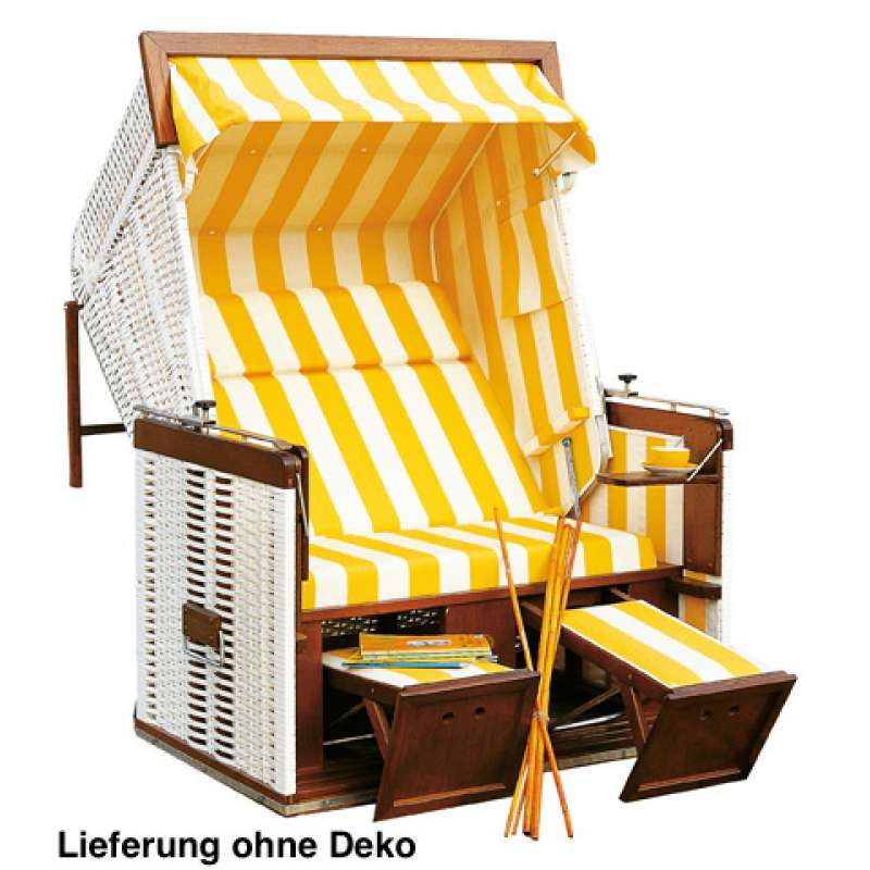 Sonnenpartner Strandkorb Präsident 2 Sitzer Liegemodell weiß gelb