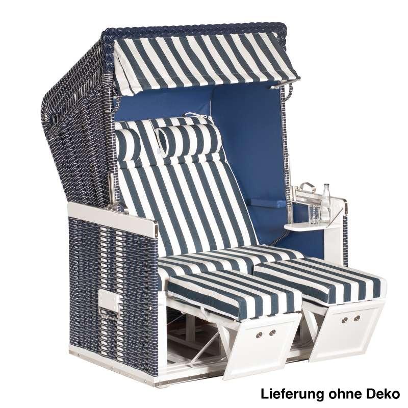Sonnenpartner Strandkorb Konsul 2-Sitzer Halbliegemodell blau/weiß mit Sonderausstattung