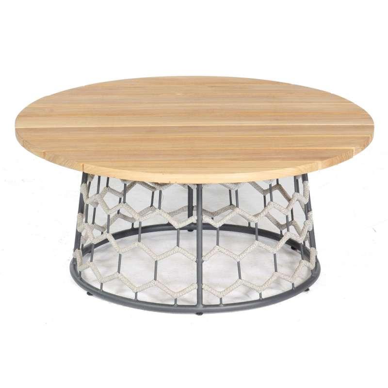 Sonnenpartner Lounge-Tisch Yale Ø 100 cm Teak/Aluminium mit Polyrope silbergrau Loungetisch Beistell