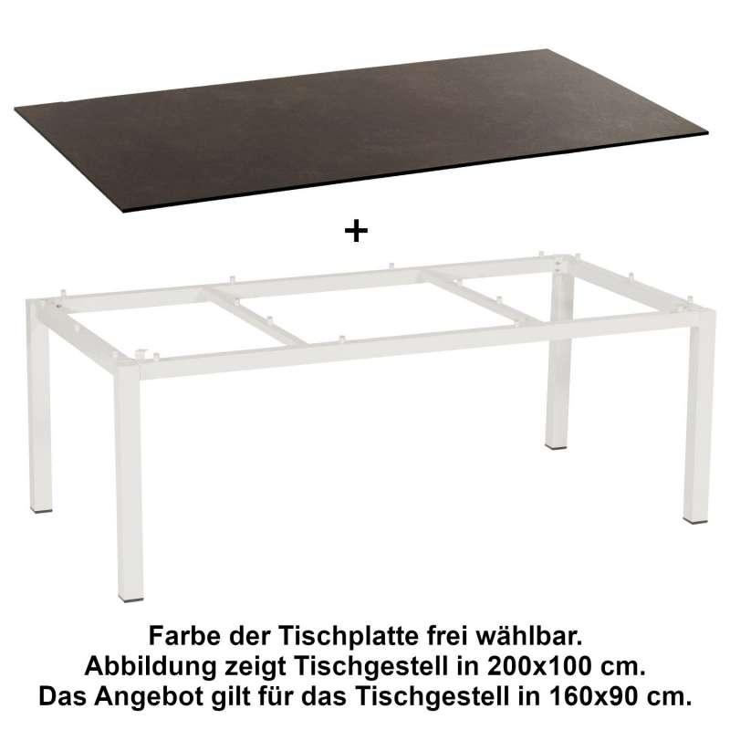 Sonnenpartner Gartentisch Base 160x90 cm Aluminium weiß Tischsystem mit wählbarer Tischplatte HPL Te
