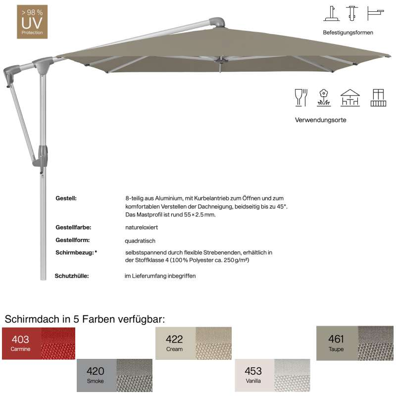 GLATZ Sonnenschirm SUNWING® CASA quadratisch 270 x 270 cm 5 Farben Ampelschirm Stoffklasse 4