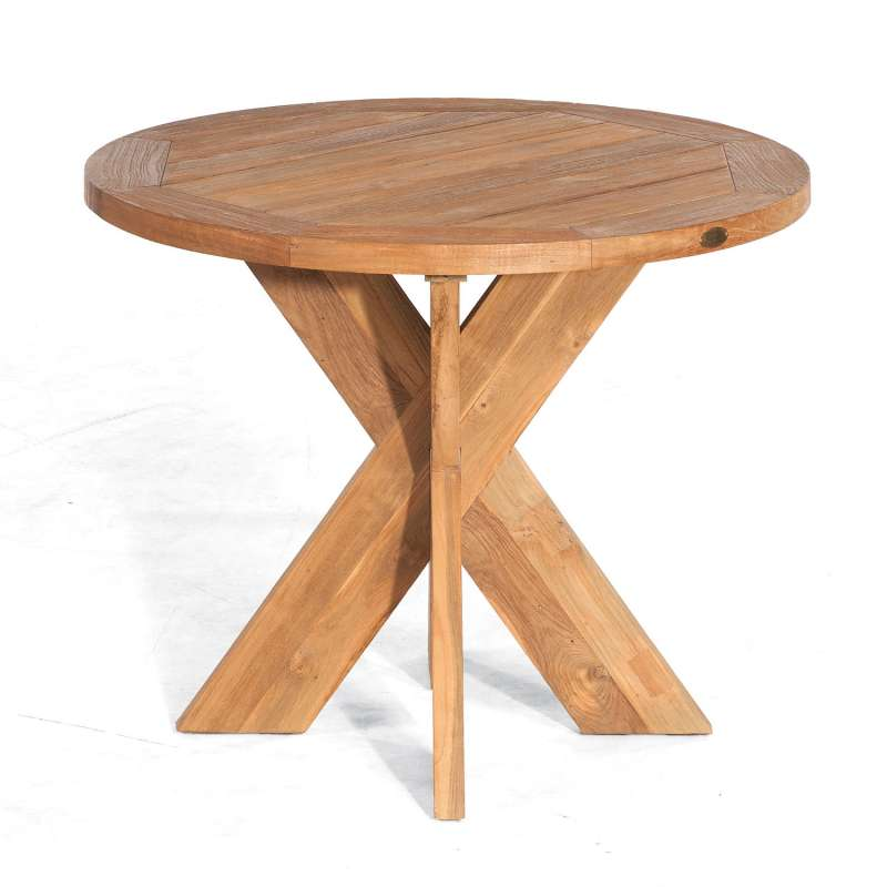 Sonnenpartner Gartentisch Quantum rund Ø 90 cm Teakholz Old Teak Tisch Esstisch
