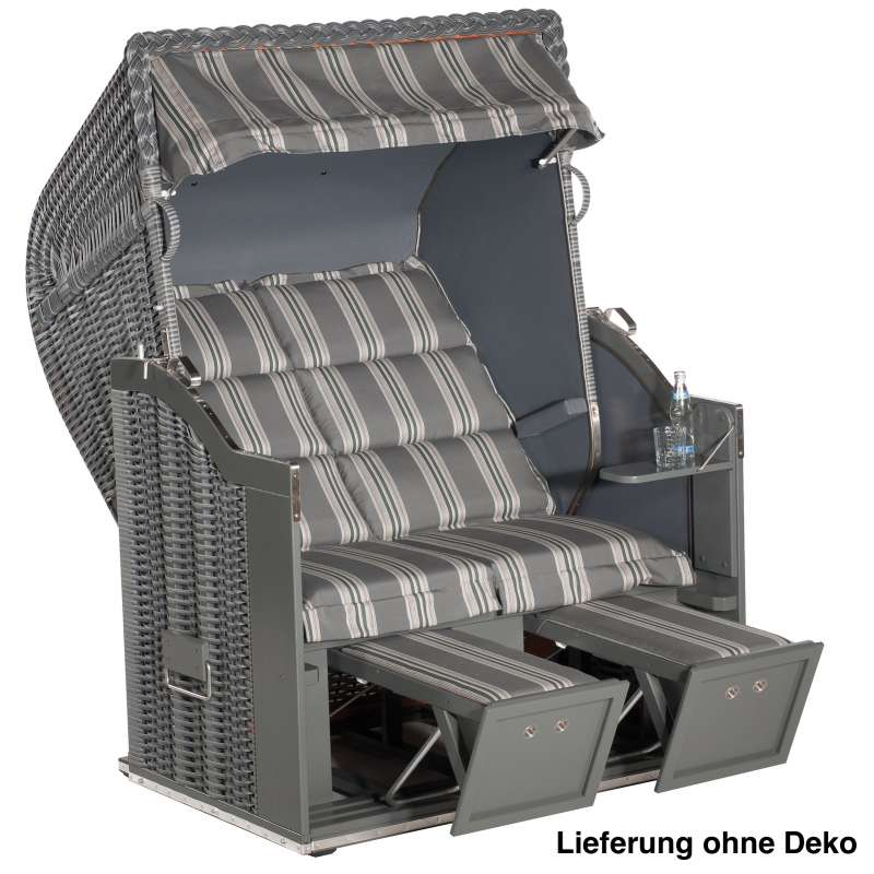 Sonnenpartner Strandkorb Classic 2 Sitzer Halbliegemodell inkl. Ausstattung onix