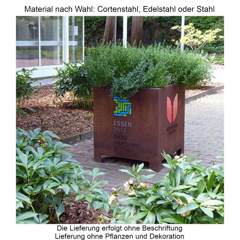 Mecondo Pflanzgefäß CONA gerade 65x65x75 cm Corten/Edelstahl/Stahl Blumenkübel