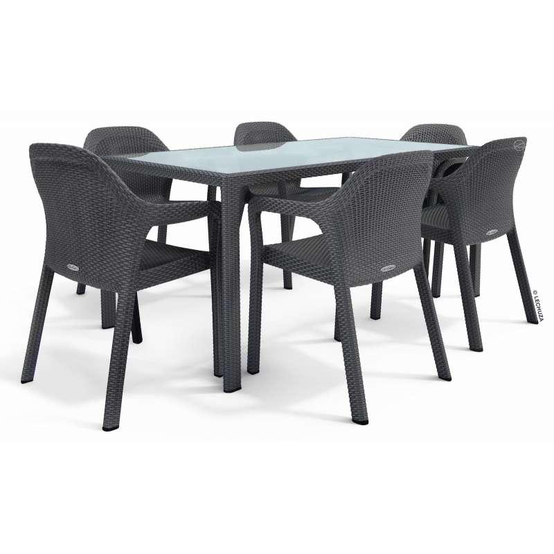 Lechuza 7-teilige Sitzgruppe Flechtstruktur granit Gartentisch Glasplatte 160x90 cm 6 Stapelstühle