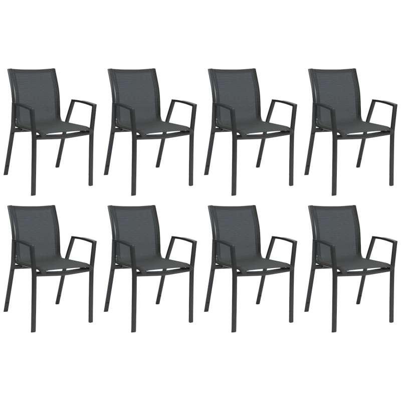 Stern 8er-Set Stapelsessel Ron Aluminium anthrazit/karbon Gartenstuhl Stapelstuhl