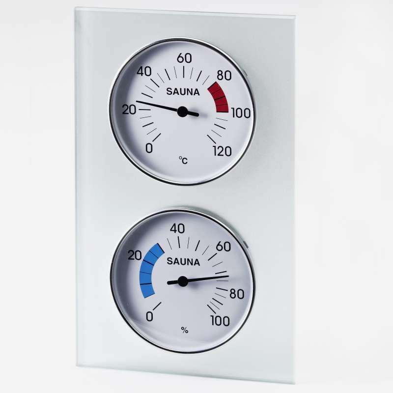 Infraworld Klimamessstation mit Glasrahmen Saunazubehör Saunamessgerät S2289