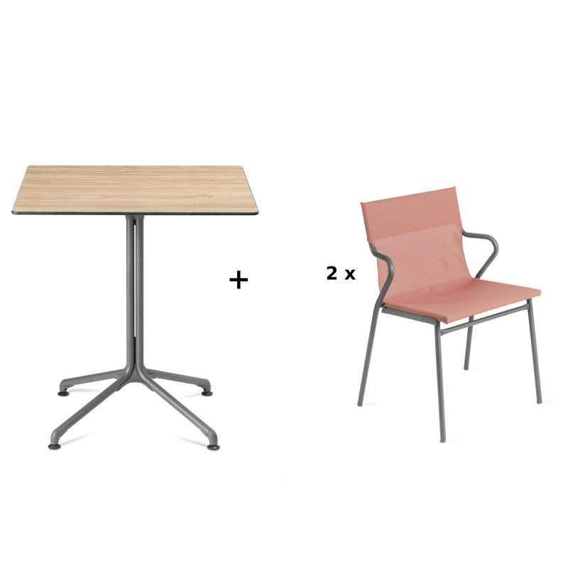 Lafuma Horizon Tisch-Set Loungetisch 70x70 cm inkl. 2 Loungestühle Terre Cuite