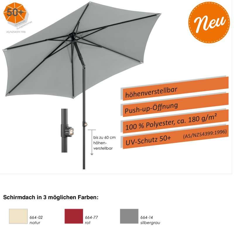 Schneider Schirme Sevilla Mittelmastschirm ø 270 cm rund 3 Farbvarianten höhenverstellbar