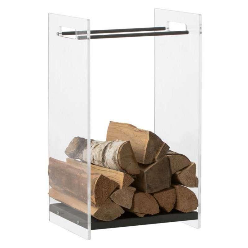Heibi Holzkorb aus pulverbeschichtetem Stahl graphitgrau/Acrylglas 37x35x66 cm