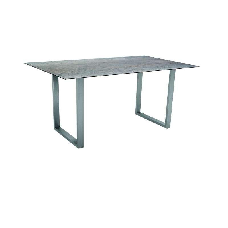 Stern Kufentisch Edelstahl Tischplatte Silverstar Dekor Smoky 160 x 90 cm 430996