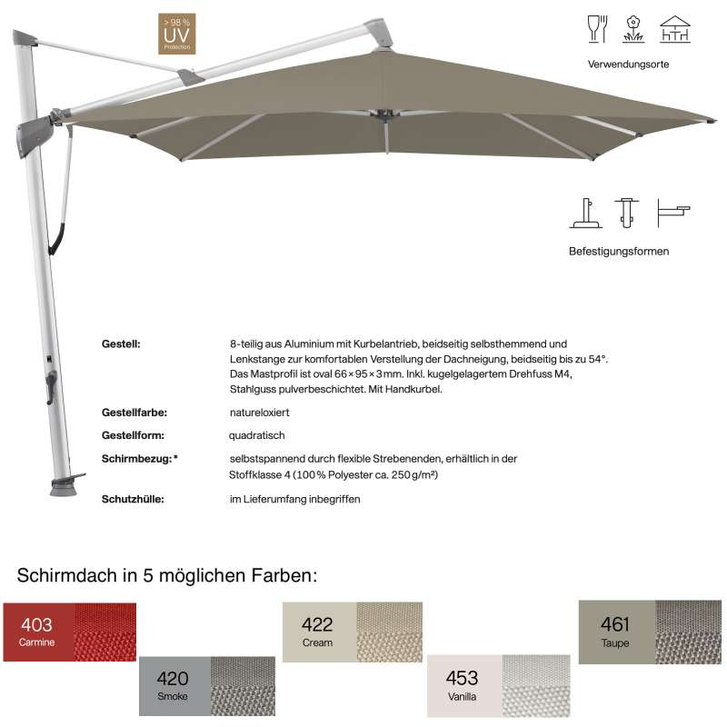 GLATZ Ampelschirm SOMBRANO® S+ quadratisch 300 x 300 cm in 5 Farben Sonnenschirm Stoffklasse 4