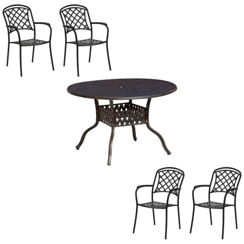 Inko Tisch-Set 1 Tisch 120x74cm rund 4 Sessel Aluminium Guss bronze Variante wählbar