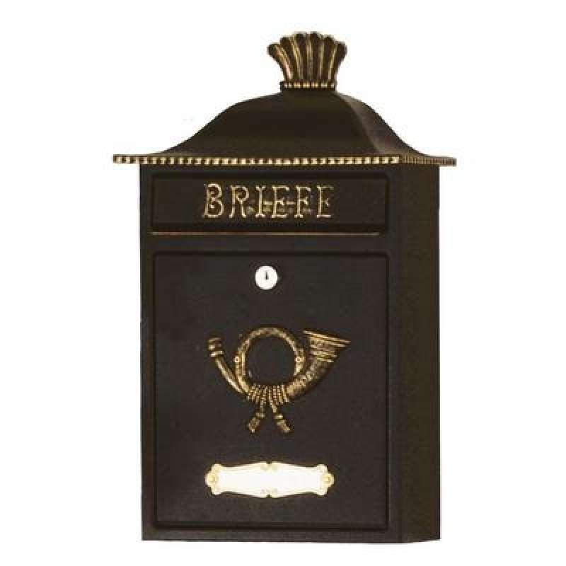 Heibi Briefkasten MERENO verzinkt pulverbeschichtet schwarz gold 64063-027