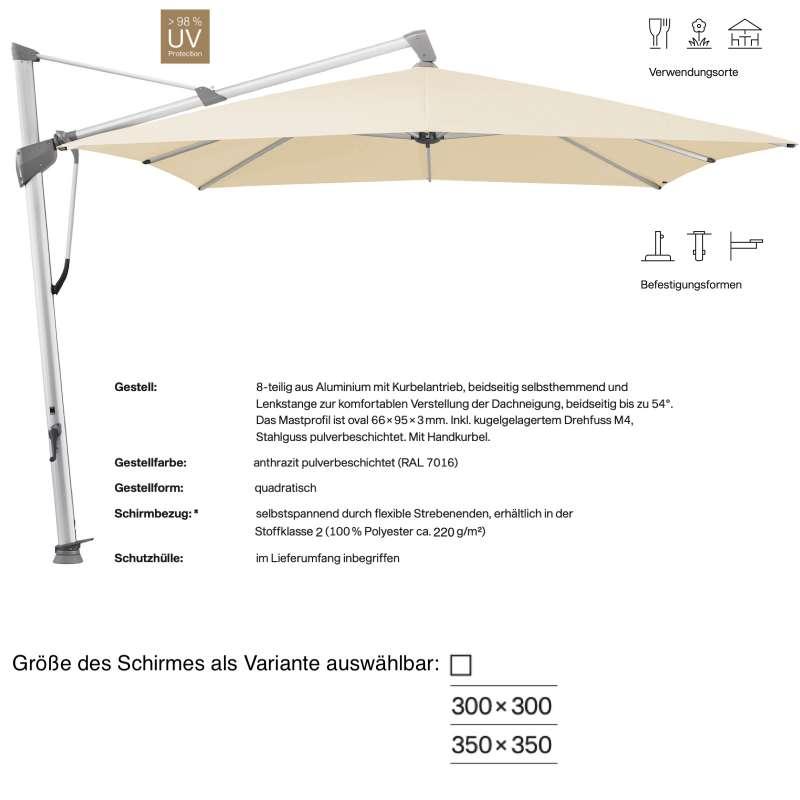 GLATZ Ampelschirm SOMBRANO® S+ easy quadratisch 300 x 300 / 350 x 350 cm Stoffklasse 2 Eggshell 150