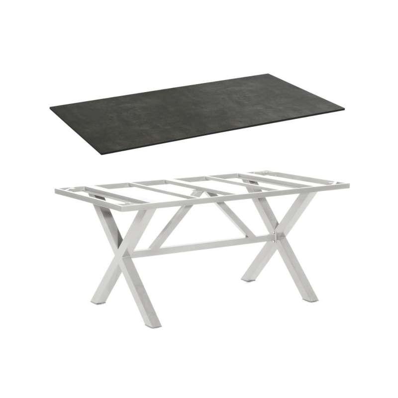 Sonnenpartner Gartentisch Base-Spectra 160x90 cm Aluminium silber Tischsystem mit wählbarer Tischpla