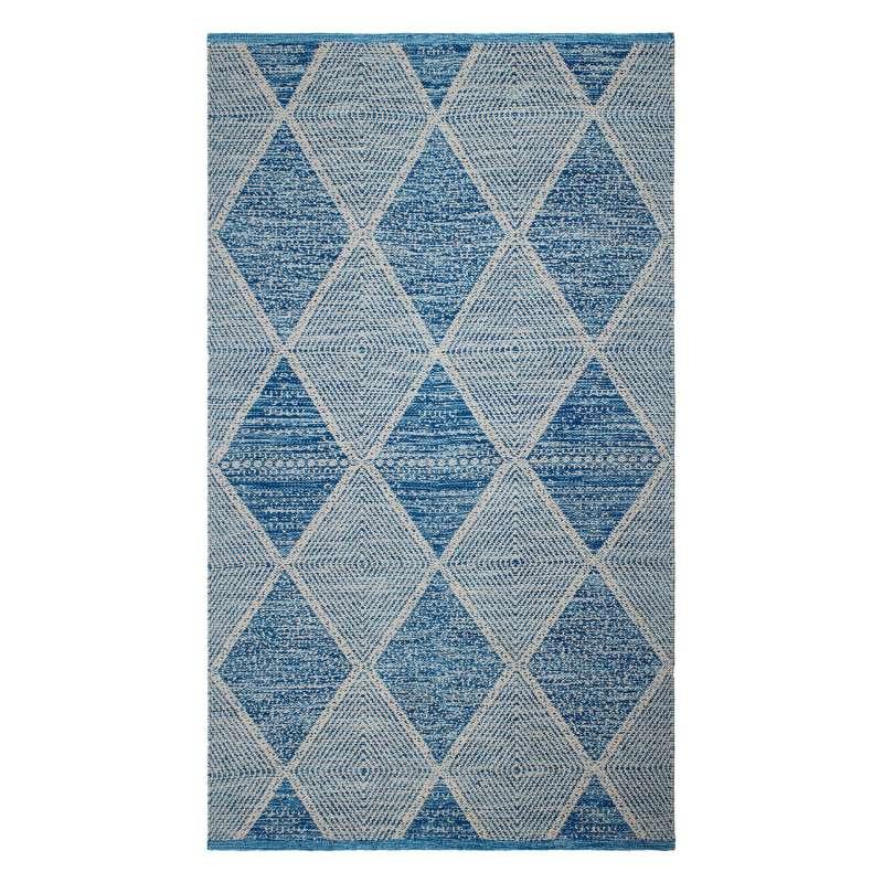 Fab Hab Outdoorteppich Hampton Blue aus recycelten PET-Flaschen blau 60x90 cm