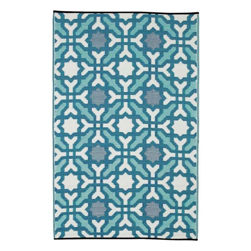 Fab Hab Outdoorteppich Seville Multicolor aus recyceltem Plastik blau 90x150 cm