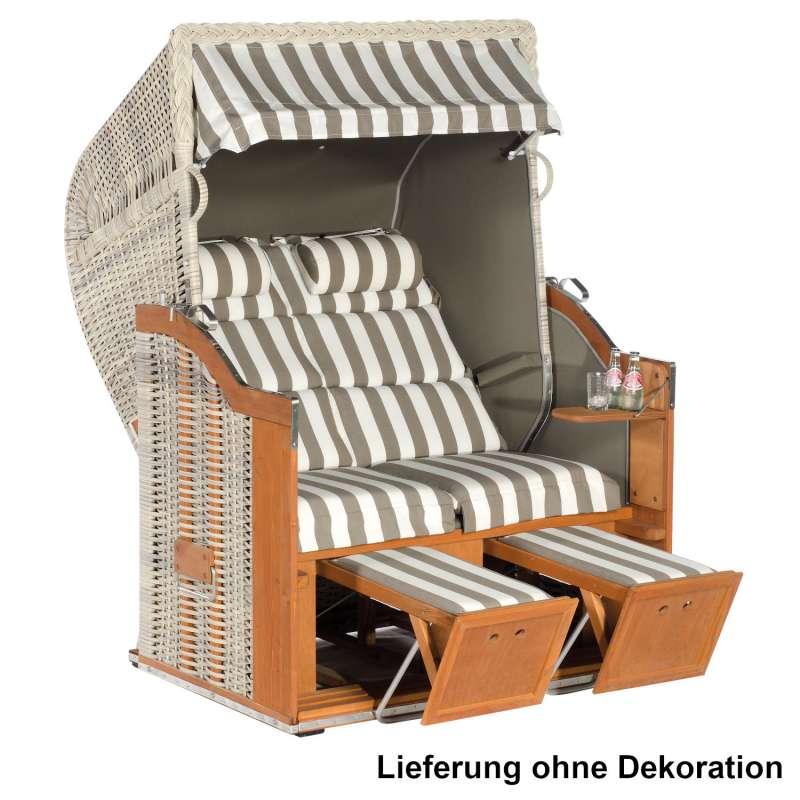 Sonnenpartner Strandkorb Classic Duo-Style 2-Sitzer Halbliegemodell antikweiß/taupe mit Sonderaussta