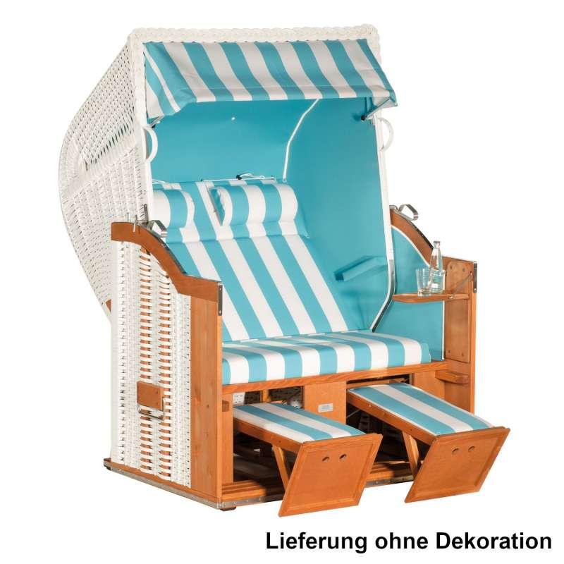 Sonnenpartner Strandkorb Classic 2-Sitzer Halbliegemodell weiß/türkis mit 2 Nackenrollen