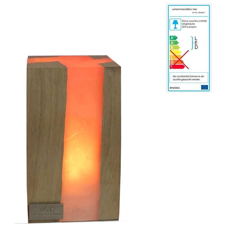 Lampenmanufaktur Saar Tischleuchte Cube M 17 x 10 x 10 cm LED Leuchte Batterie