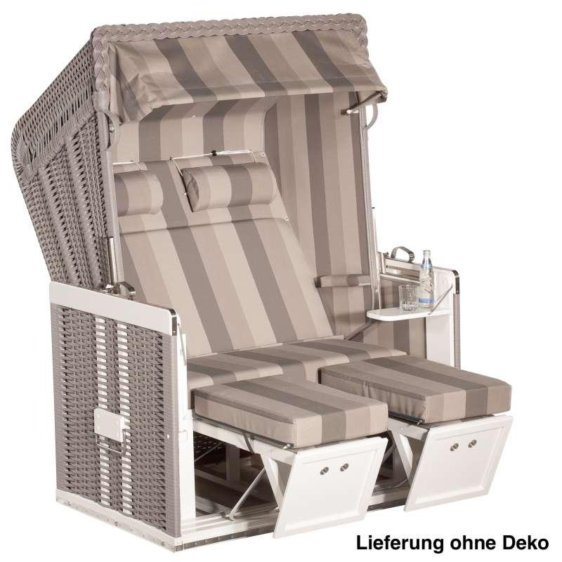 Sonnenpartner Strandkorb Konsul 2 Sitzer Halbliegemodell inkl. Ausstattung taupe