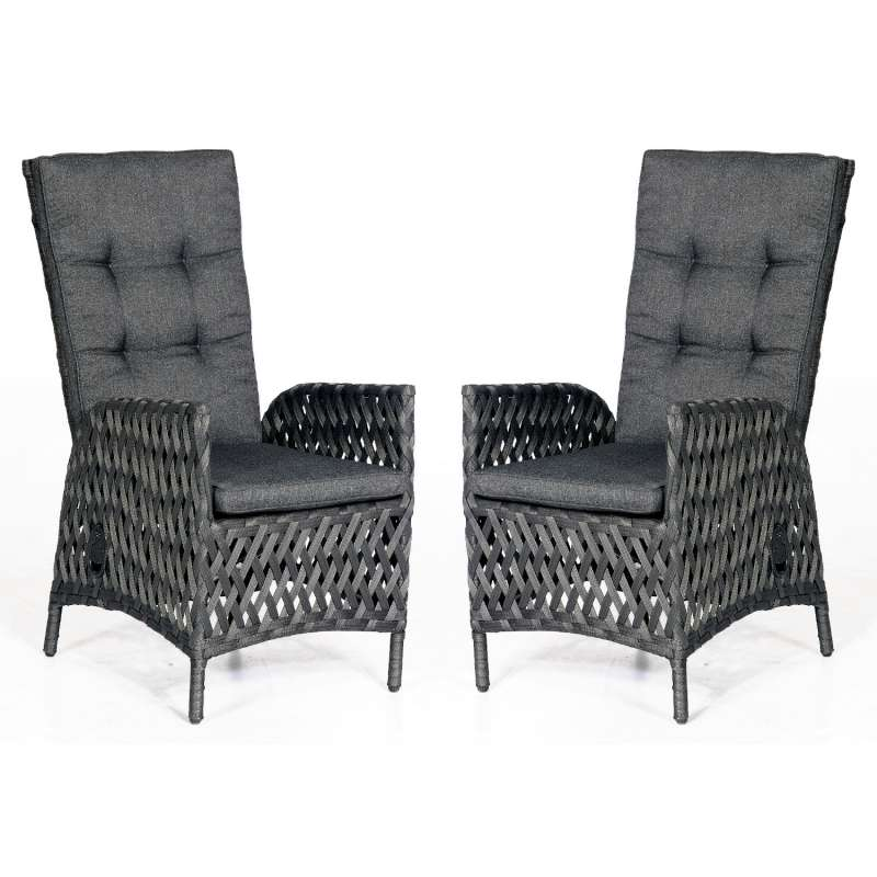 SunnySmart 2er Set Dining-Sessel Para-Basic Aluminium mit Polyrope metallic schwarz Gartenstuhl