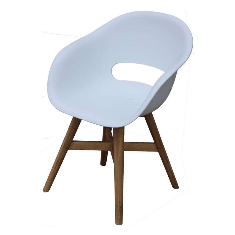 Inko Gartensessel Doro Akazie/Kunststoff weiß 61x53x86 cm Gartenstuhl Sessel