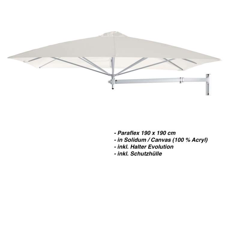 Umbrosa Paraflex 190 x 190 cm Sonnenschirm Solidum Canvas SET Wandschirm inkl. Halterung