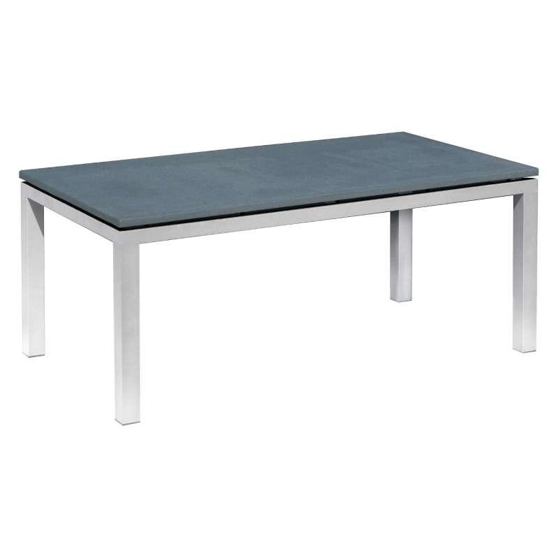 Inko Steintisch Sina Aluminium silber/Spraystone grau-mokka Größe wählbar 90x90/150x90/180x100 cm