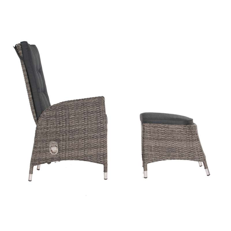 SunnySmart Dining-Sessel Para mit Fußhocker Aluminium mit Kunststoffgeflecht vintage-grau Gartenstuh