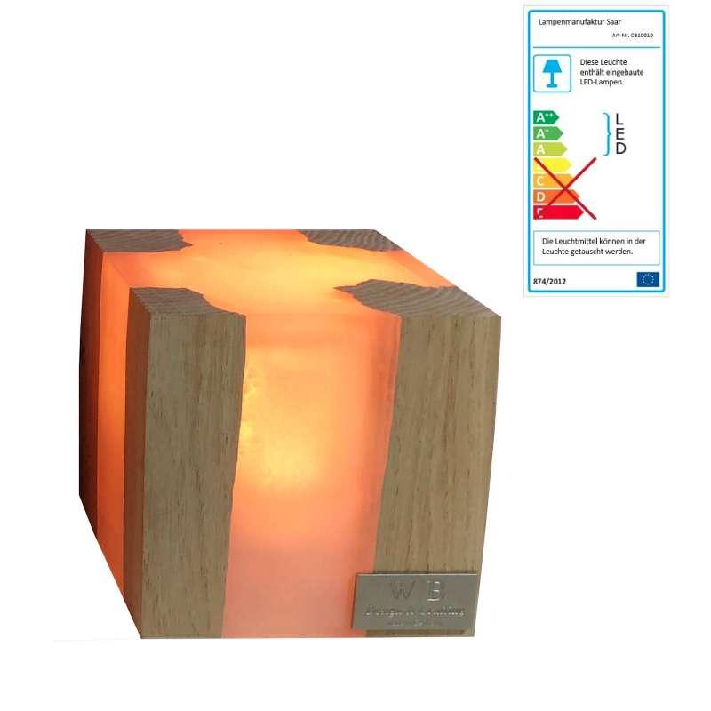 Lampenmanufaktur Saar Tischleuchte Cube S 10 x 10 x 10 cm LED Leuchte Batterie
