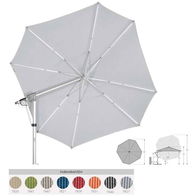 Doppler Protect Pendel 400 P Sonnenschirm 8 Farbvarianten Pendelschirm Ampelschirm