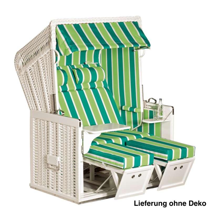 Sonnenpartner Strandkorb Konsul 2-Sitzer Halbliegemodell weiß/grün mit Sonderausstattung
