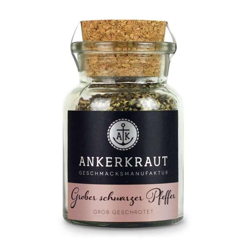 Ankerkraut Grober schwarzer Pfeffer Gewürzzubereitung Einzelgewürz im Korkenglas 70 g