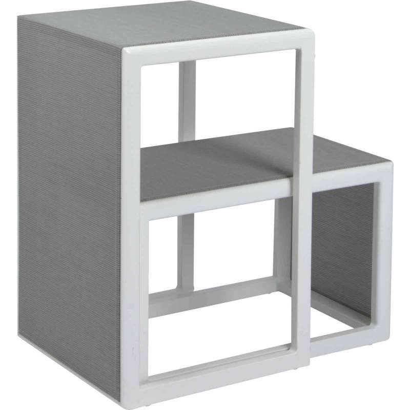 Stern 2er-Set Beistelltische Brothers Aluminium weiß/Textilen silber Kaffeetisch Tisch