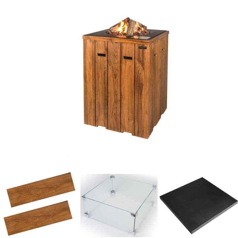 Happy Cocooning Mania Feuertisch Komplettset Stehtisch 19,5 kW quadratisch 76x76x100 cm Teakholz/sch